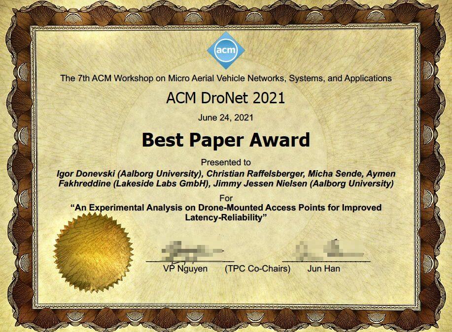 Best Paper Award to ESR Igor Donevski and PI Jimmy Nielsen