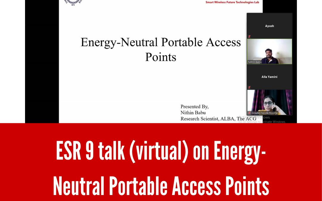 ESR 10 talk (virtual) on Energy- Neutral Portable Access Points